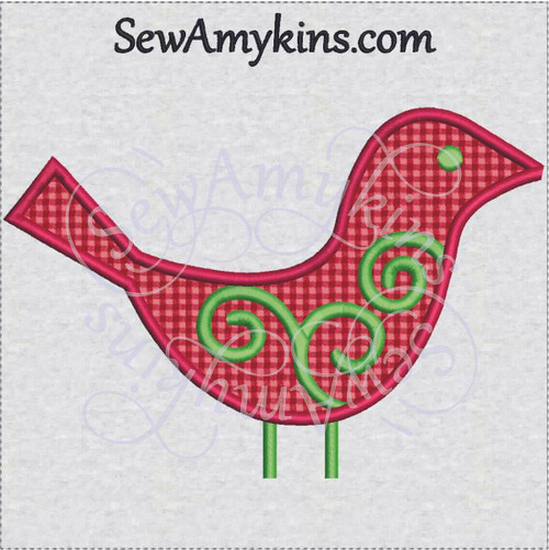 applique bird Christmas ornament swirl machine embroidery bulb