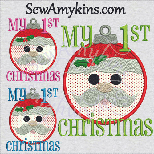 my 1st Christmas santa face applique embroidery design baby first