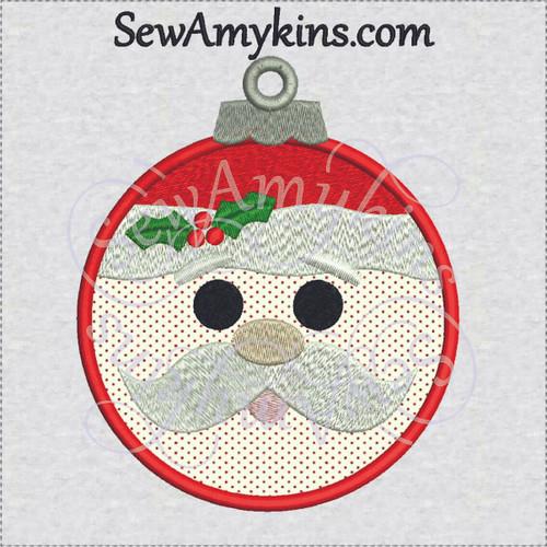 Santa ornament face applique Christmas bulb embroidery design