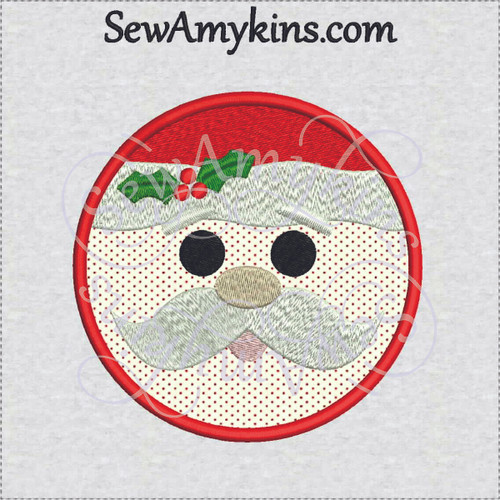 round Santa face applique Christmas embroidery design