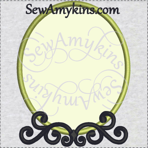 frame applique elegant scroll embroidery picture oval