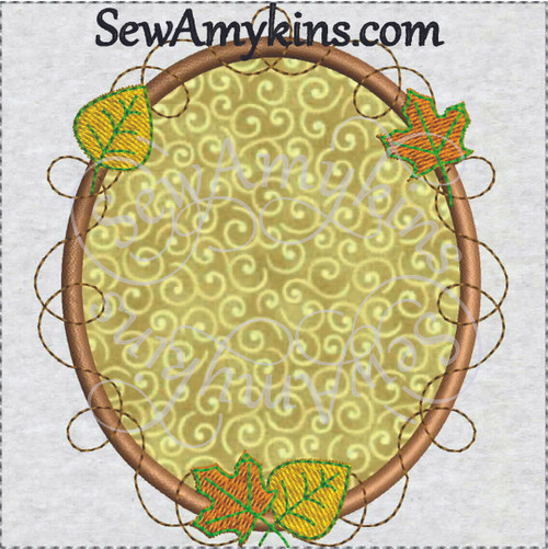 frame applique fall autumn leaves grapevine embroidery picture oval