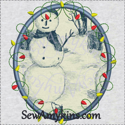 frame Christmas holiday lights applique embroidery picture oval