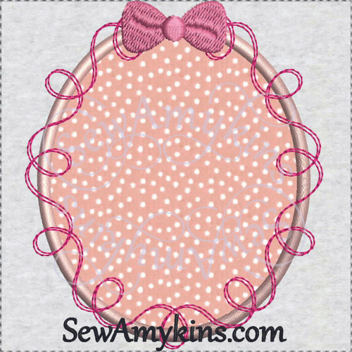 frame ribbon bow applique embroidery picture oval