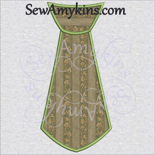 tie applique 2 step fabrics embroidery design necktie neck