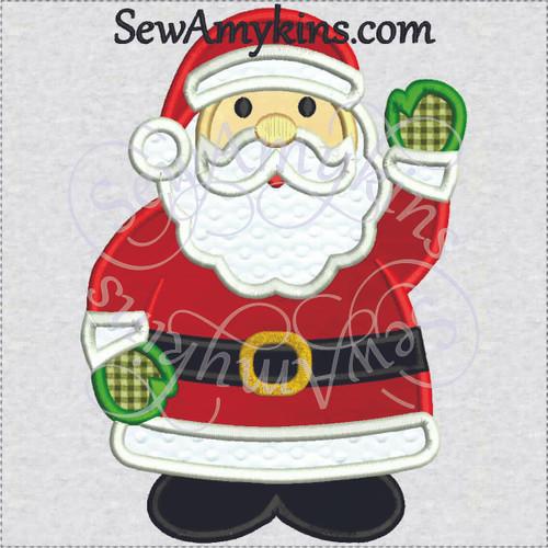 santa applique standing waving embroidery design Christmas Clause