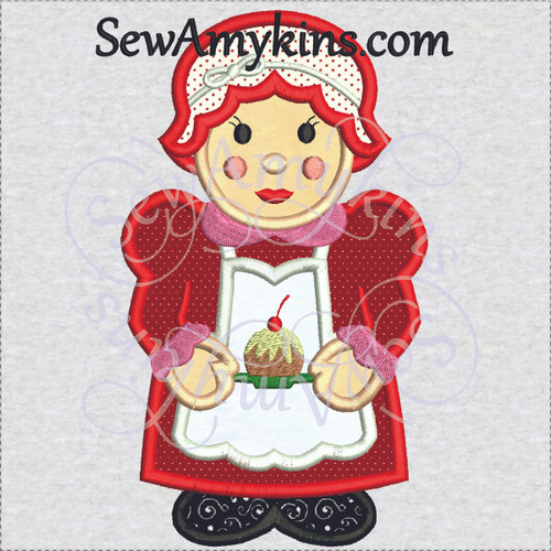 mrs santa wife applique embroidery design Christmas Clause baking fruitcake