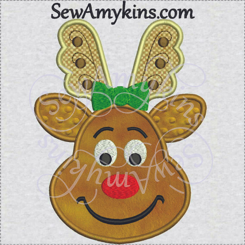 reindeer girl applique rudolph embroidery design Christmas bow
