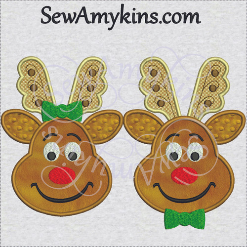 reindeer girl boy example applique embroidery