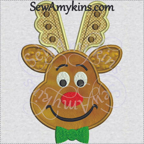reindeer boy applique rudolph embroidery design Christmas bow tie