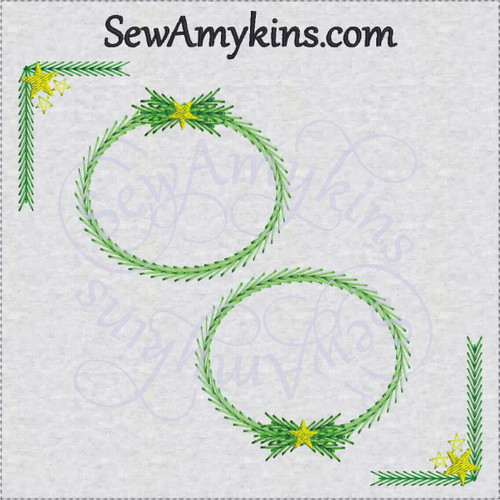 Christmas frame border corner embroidery design star pine branches