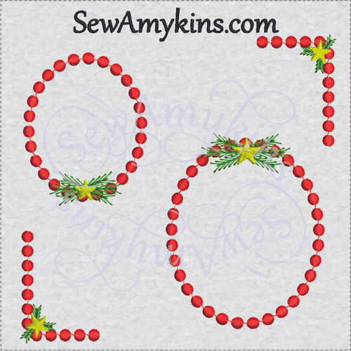 Christmas frame border corner embroidery design star pine dot