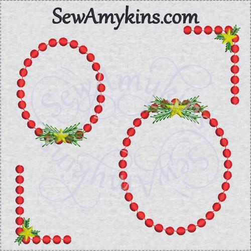 Christmas frame border corner embroidery design star pine dot