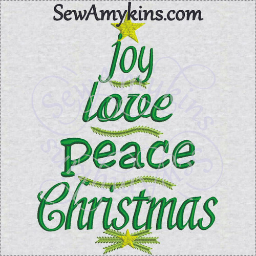 Christmas tree words joy peace love embroidery design