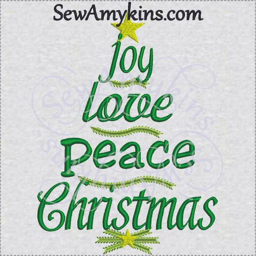 Christmas tree words joy peace love embroidery design