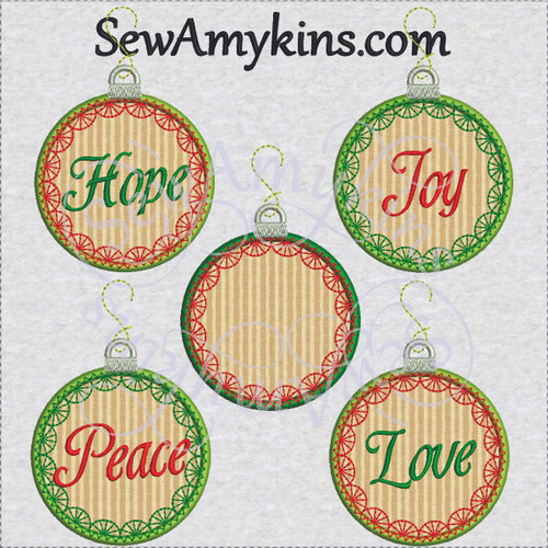 Christmas ornament applique hope peace love joy embroidery designs