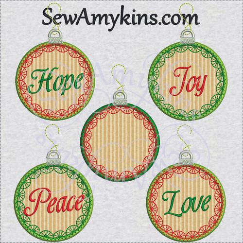 Christmas ornament applique hope peace love joy embroidery designs