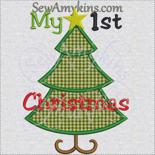 My 1st Christmas tree applique star embroidery design boy baby first