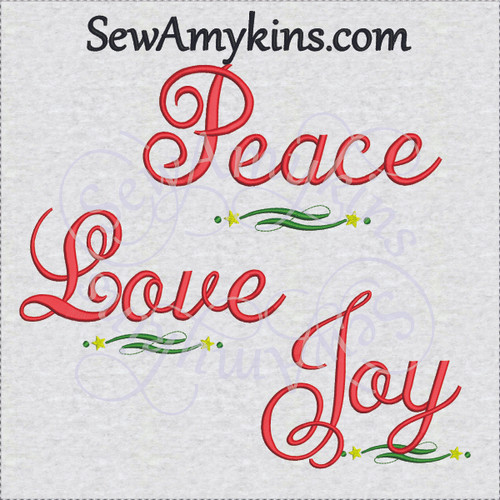 Christmas script words joy peace love embroidery design separate files star fluorish