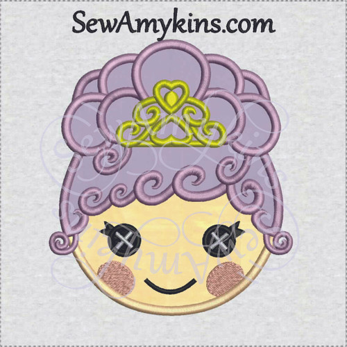 LaLaLoopsy Goldie Luxe doll face applique embroidery design