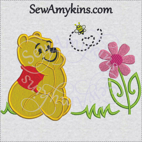 Pooh bear applique sitting bee flower machine embroidery design