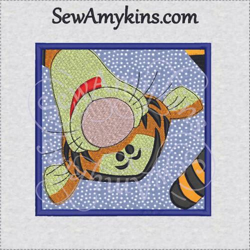 Tigger tiger head applique box machine embroidery design