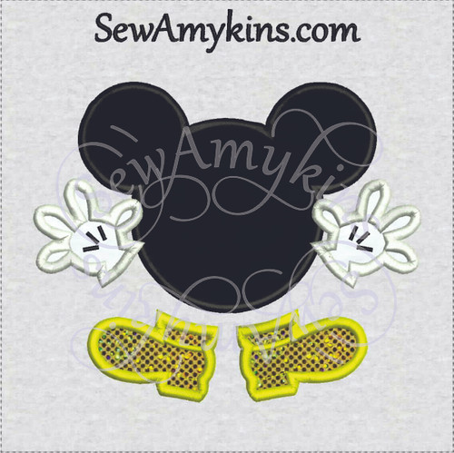 Mickey Mouse applique head hands feet machine embroidery design