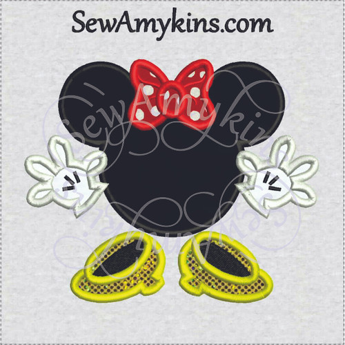 Minnie  Mouse applique head bow hands feet machine embroidery design