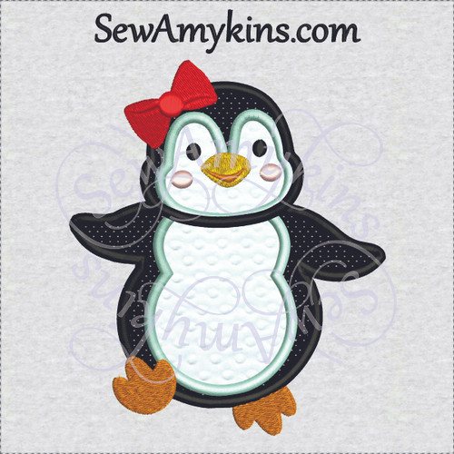penguin girl applique embroidery design cute sweet bow