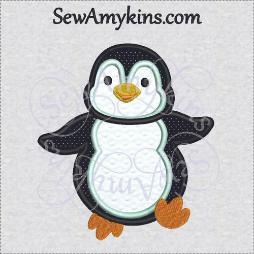 penguin boy applique embroidery design cute sweet