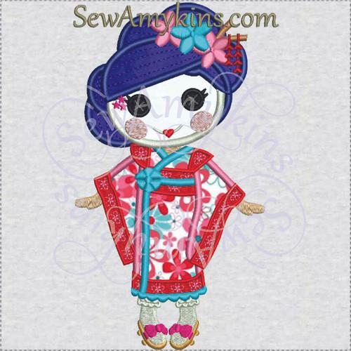 Yuki Kimono LaLaLoopsy Japanese Geisha doll applique embroidery
