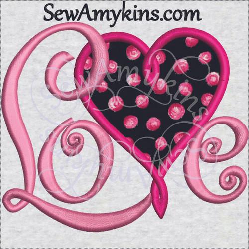 love heart applique machine embroidery word Valentine