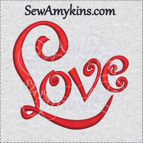 love word embroidery design cursive fancy script