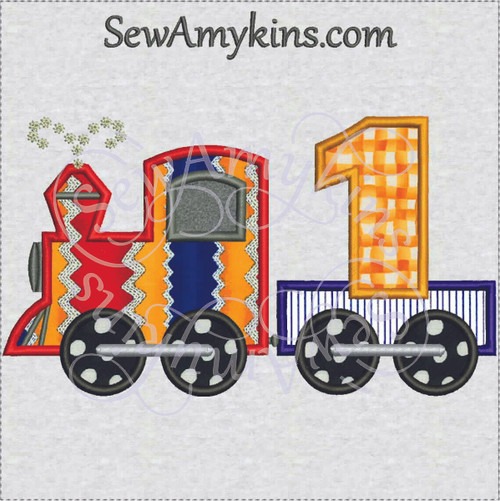 birthday train 1st first applique embroidery design 1 engine boy
