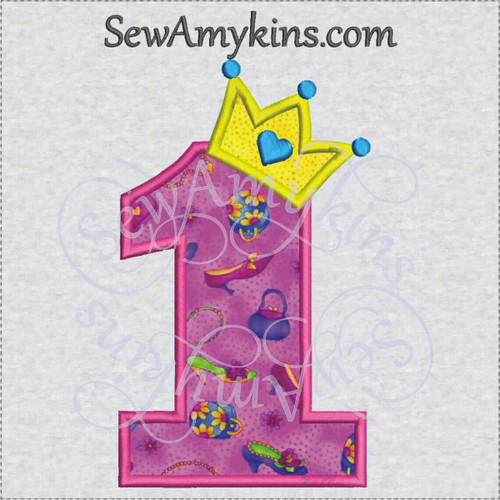 crown princess numbers applique embroidery birthday number