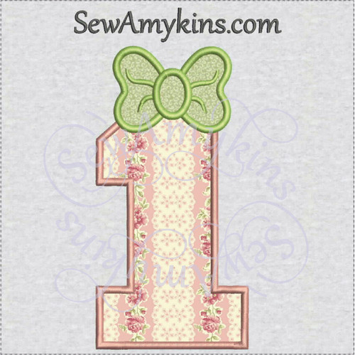 number bow applique machine embroidery design numbers set birthday girl