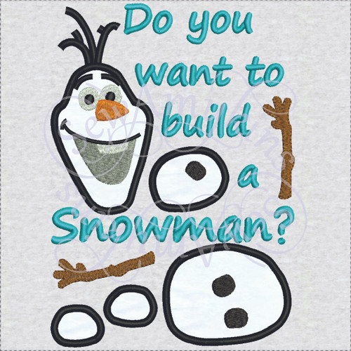 Olaf frozen do you want to build a snowman applique machine embroidery