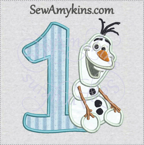 Olaf number one applique machine embroidery snowman frozen birthday numbers