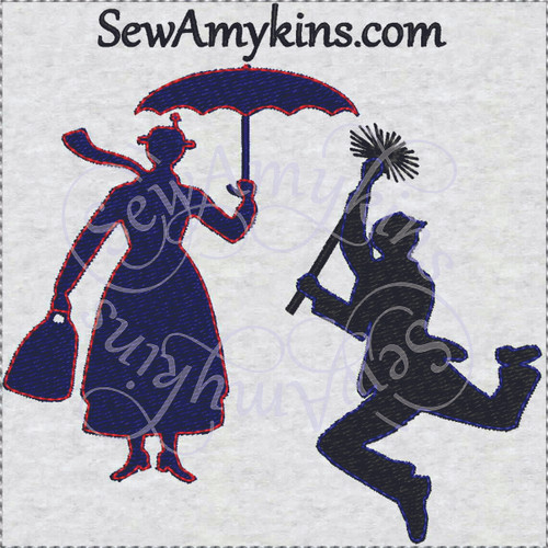 Mary Poppins Bert silhouette machine embroidery designs