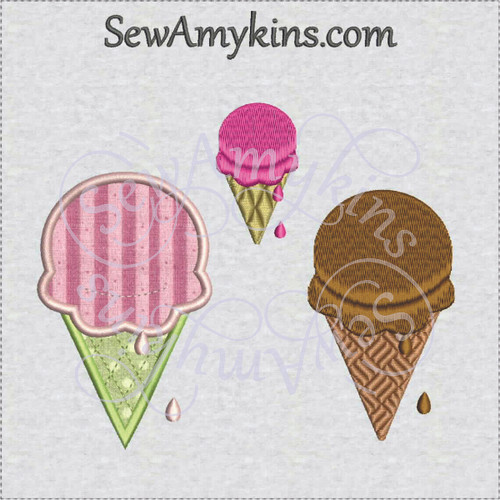 ice cream cone applique & fill stitch machine embroidery