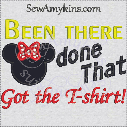 minnie mouse applique embroidery design been there done that got the T shirt last day trip