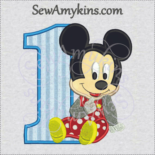 Mickey Mouse baby boy one first birthday applique embroidery design 1st