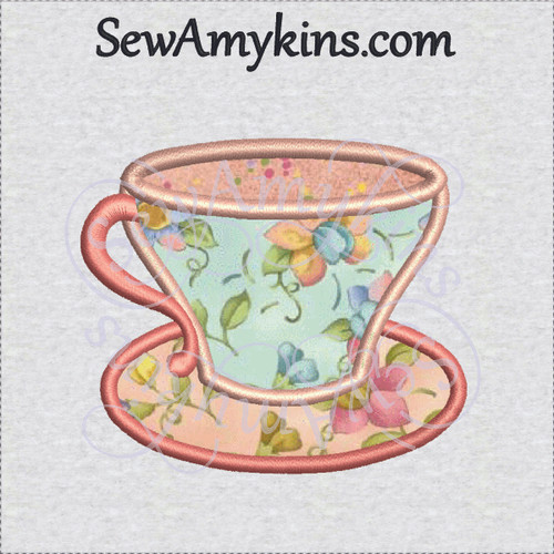 tea cup saucer applique machine embroidery design