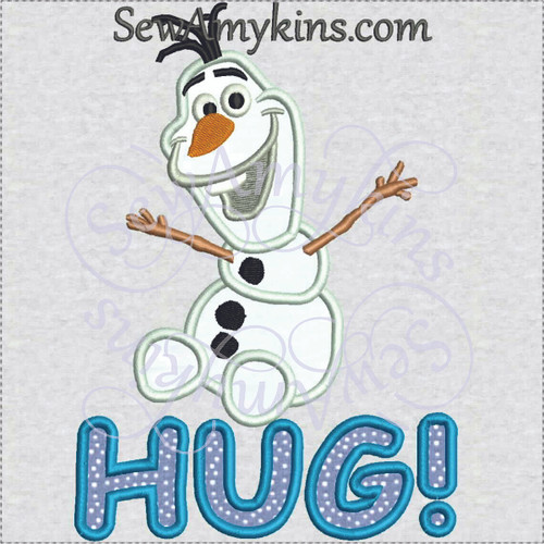Olaf frozen snowman HUG applique machine embroidery snow man
