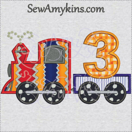 birthday train 3rd third applique embroidery design 3 engine boy