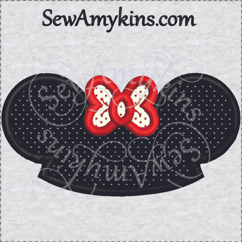 Minnie mouse hat ears applique machine embroidery mouseketeer