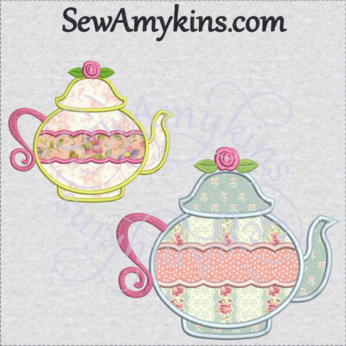tea pot rose 2 or 3 layer applique