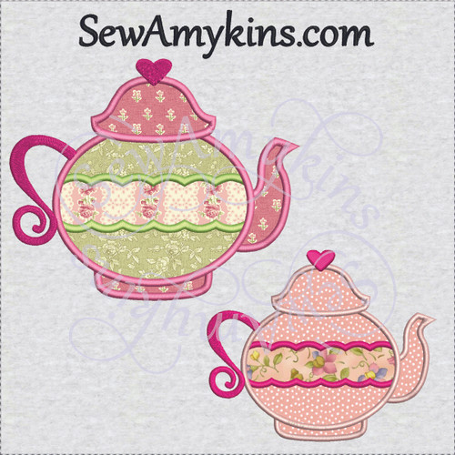 tea pot heart 2 or 3 layer applique