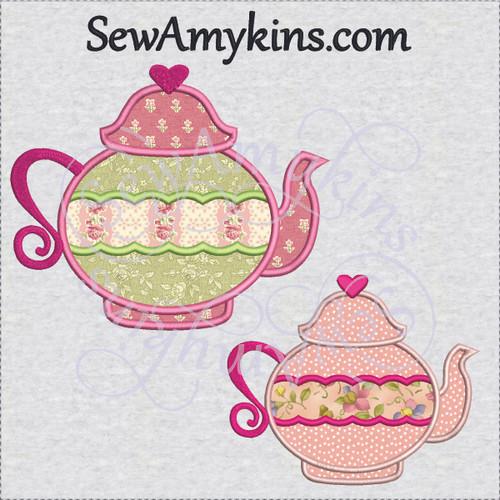 tea pot heart 2 or 3 layer applique