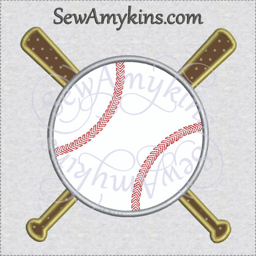 baseball bat applique machine embroidery base ball